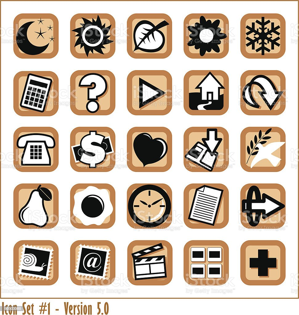 Colored Icon Set 1 - Version 5 royalty-free stock vector art