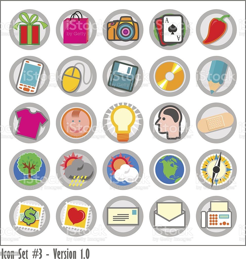 Colored Icon Set 3 - Version 1 vector art illustration