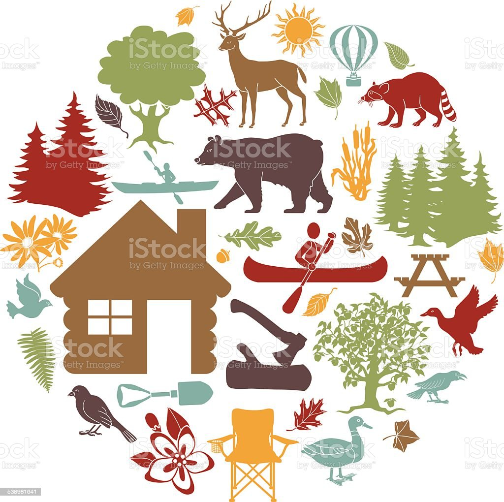 colored icons cabin outdoor recreation theme arranged in circular shape vector art illustration