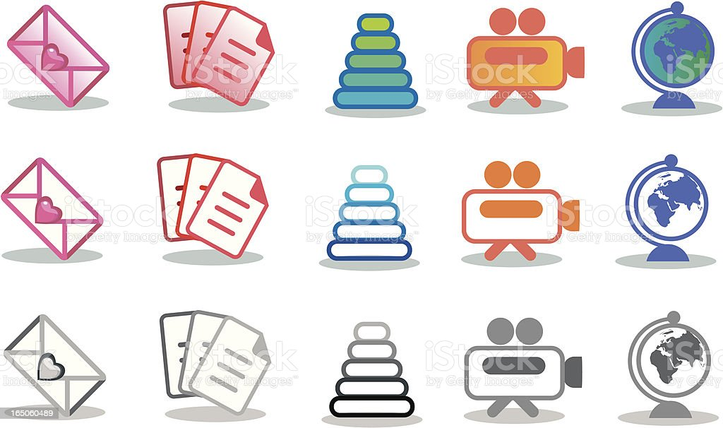 Colored Icons vector art illustration