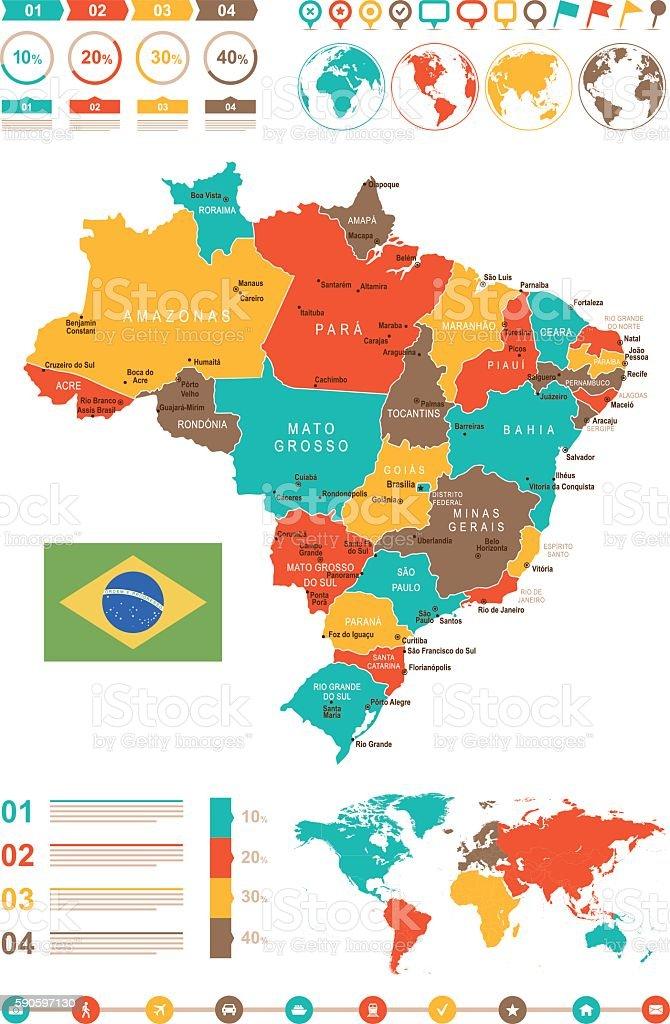 Colored Infographic Brazil Map vector art illustration