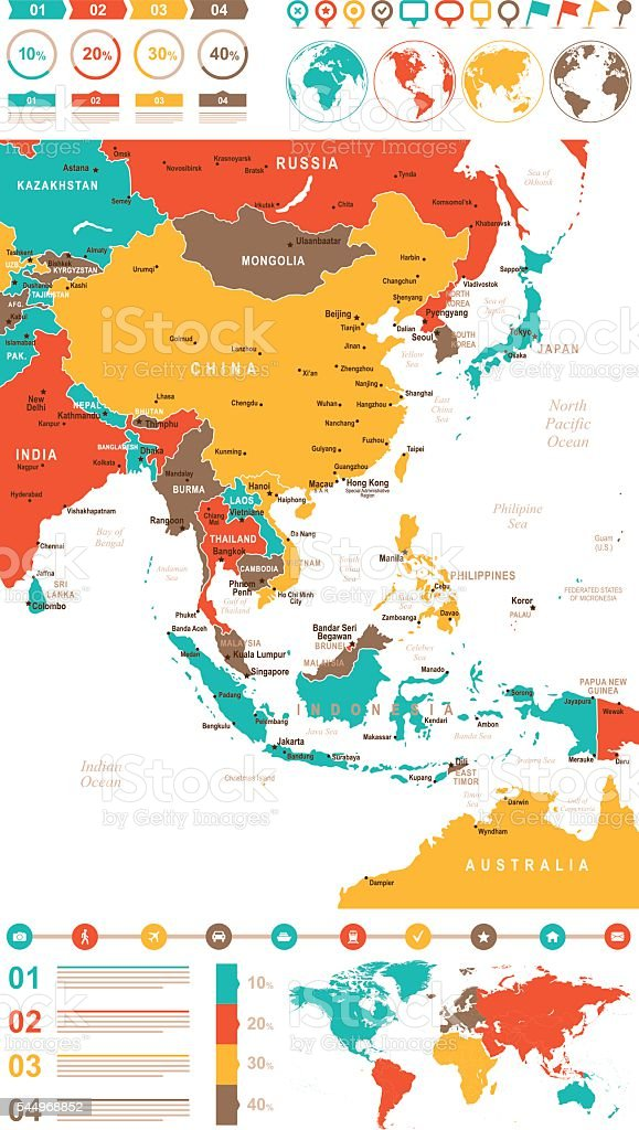 Colored Infographic East Asia Map vector art illustration