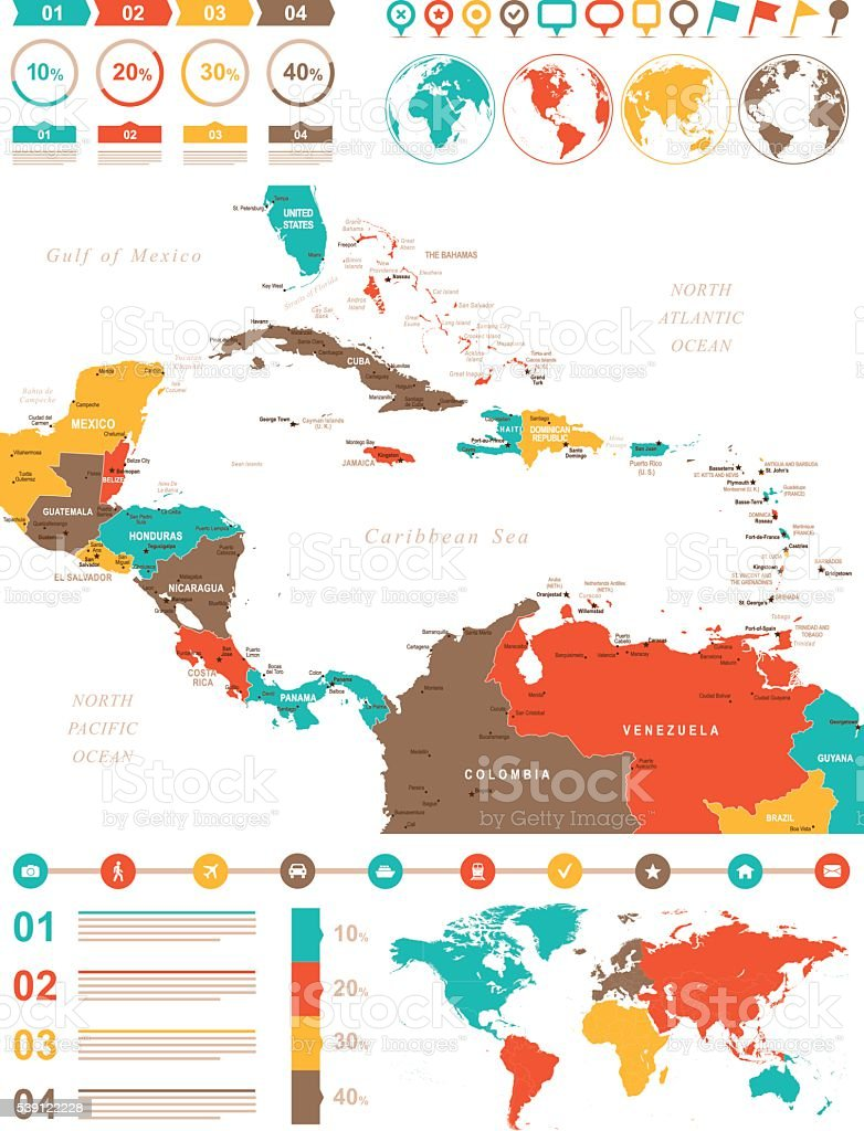 Colored Infographic Map of Central America vector art illustration