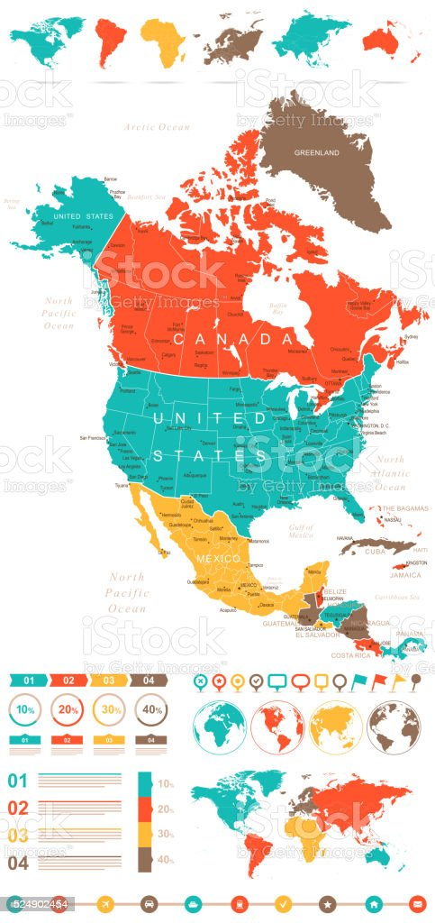 Colored Infographic North America Map vector art illustration