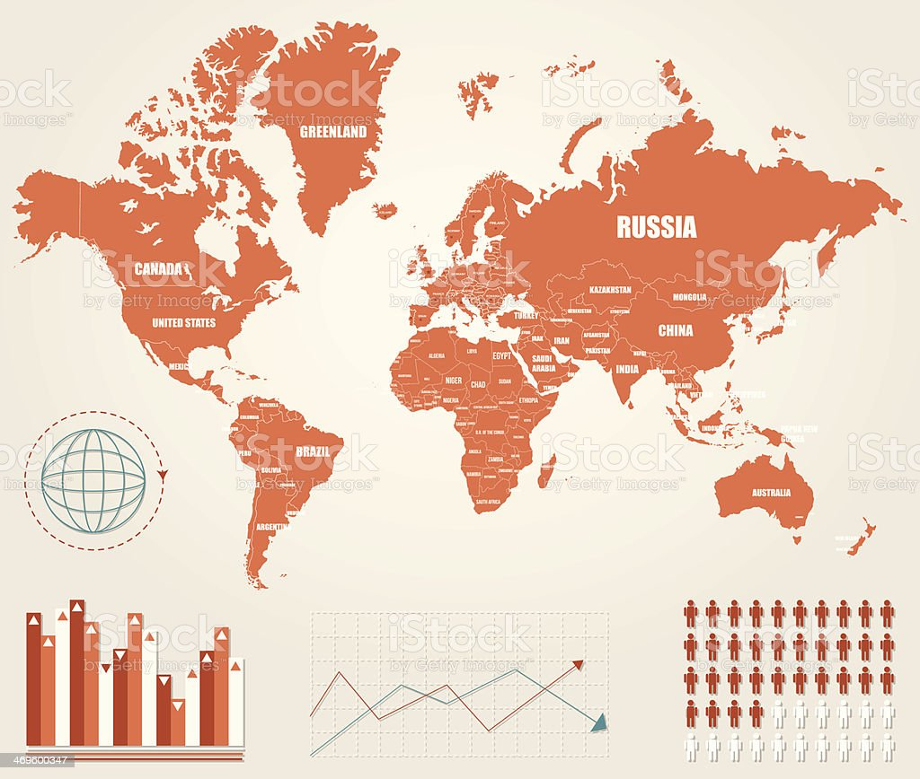 Infographic vector illustration with Map of the World vector art illustration