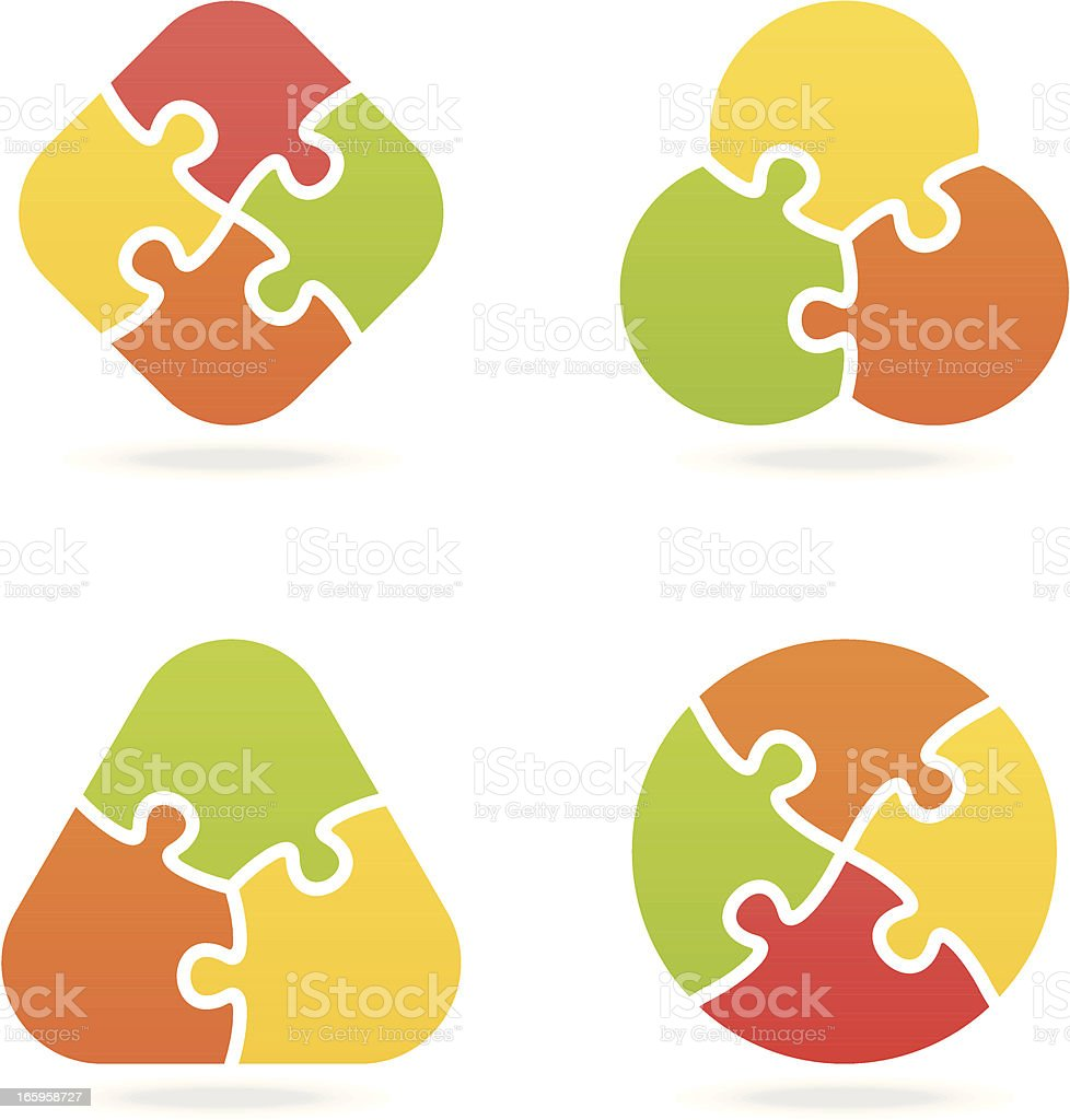colored jigsaw puzzle set I vector art illustration