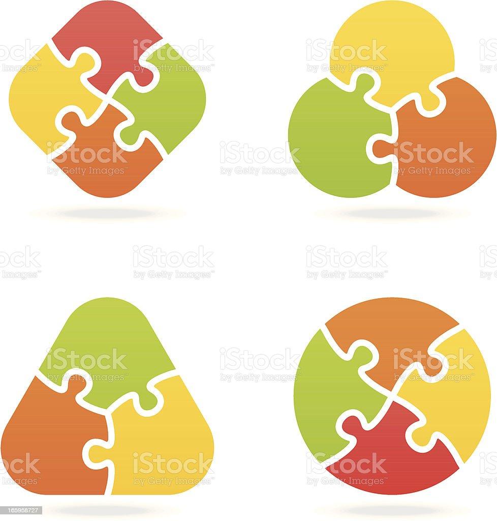 colored jigsaw puzzle set I vector art illustration