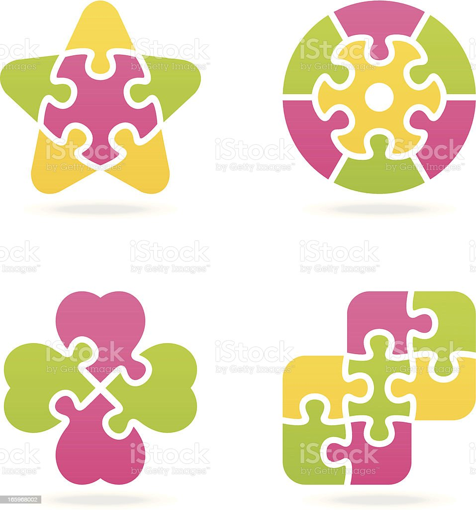 colored jigsaw puzzle set V royalty-free stock vector art