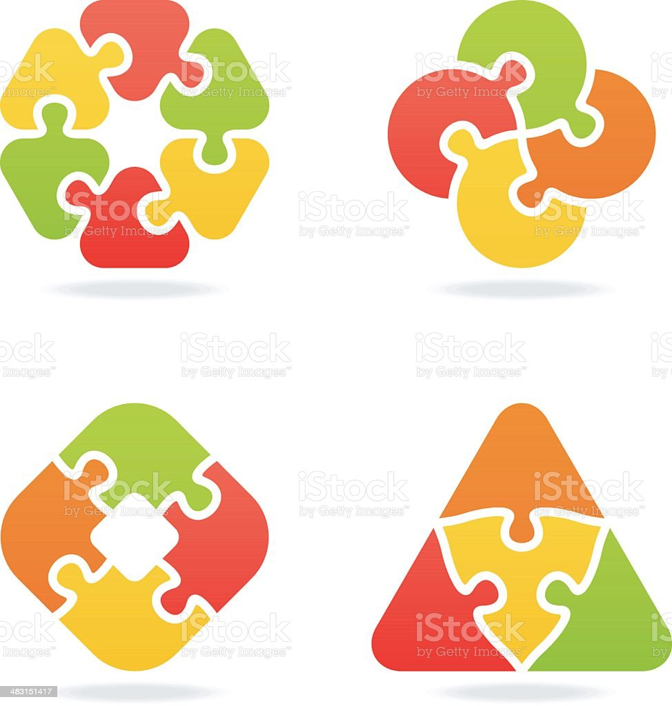 colored jigsaw puzzle set VI vector art illustration