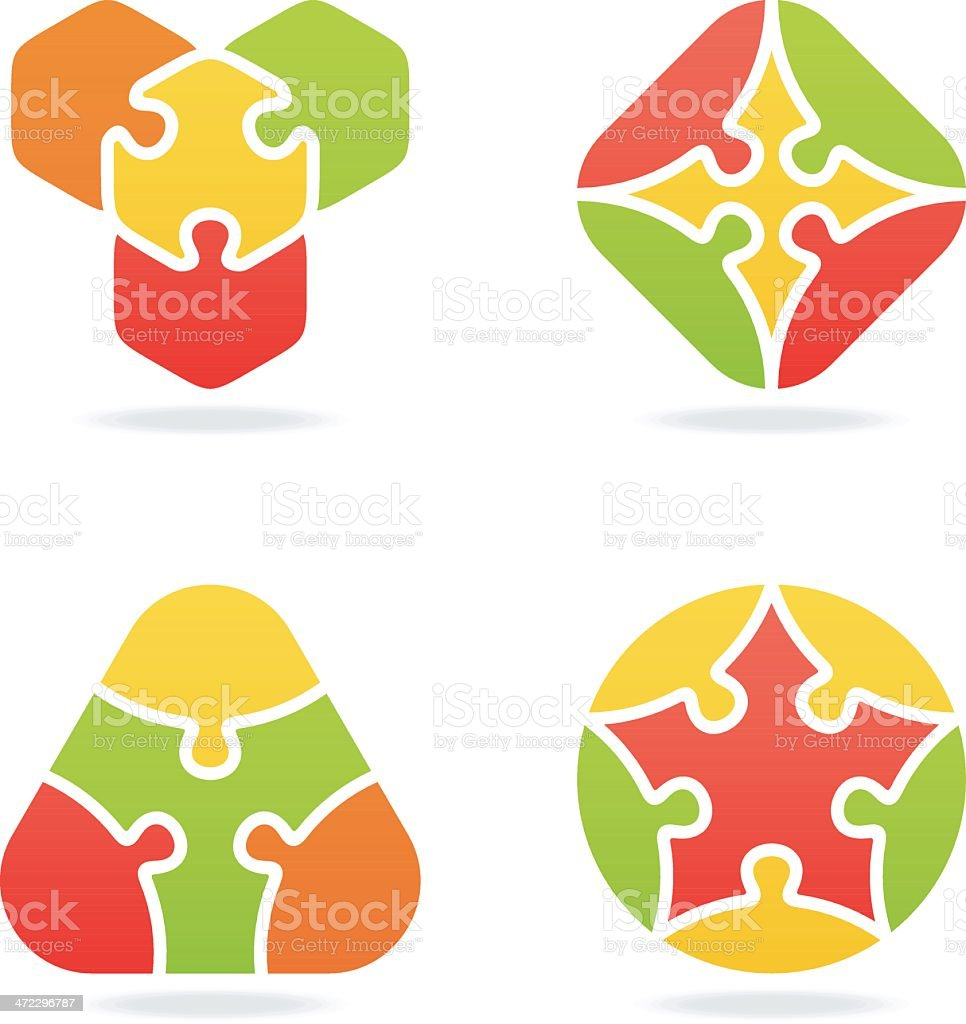 colored jigsaw puzzle set VII royalty-free stock vector art