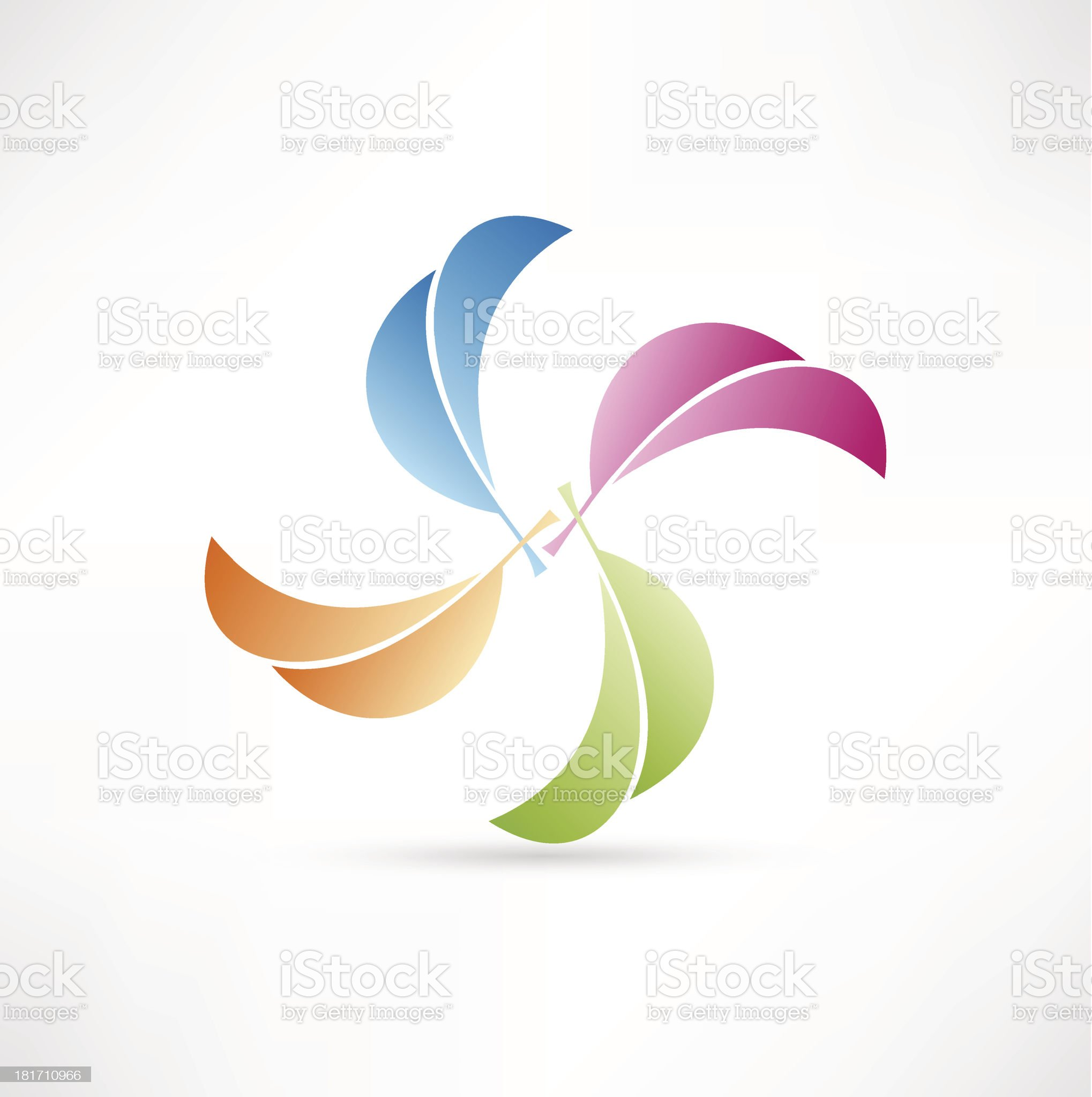 Colored leaves. Abstract symbol. royalty-free stock vector art