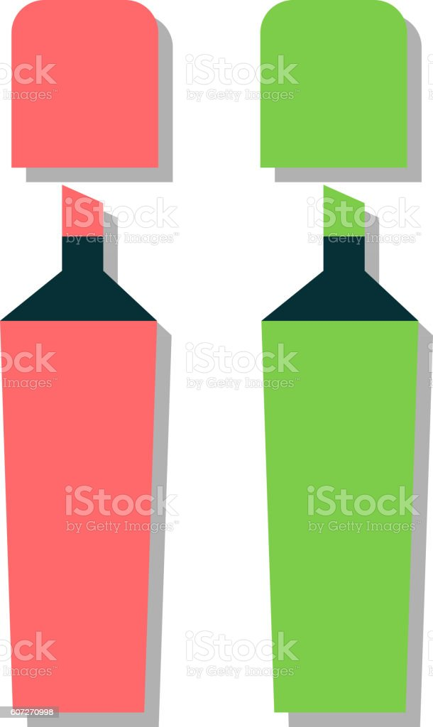 Colored marker highlighters vector vector art illustration