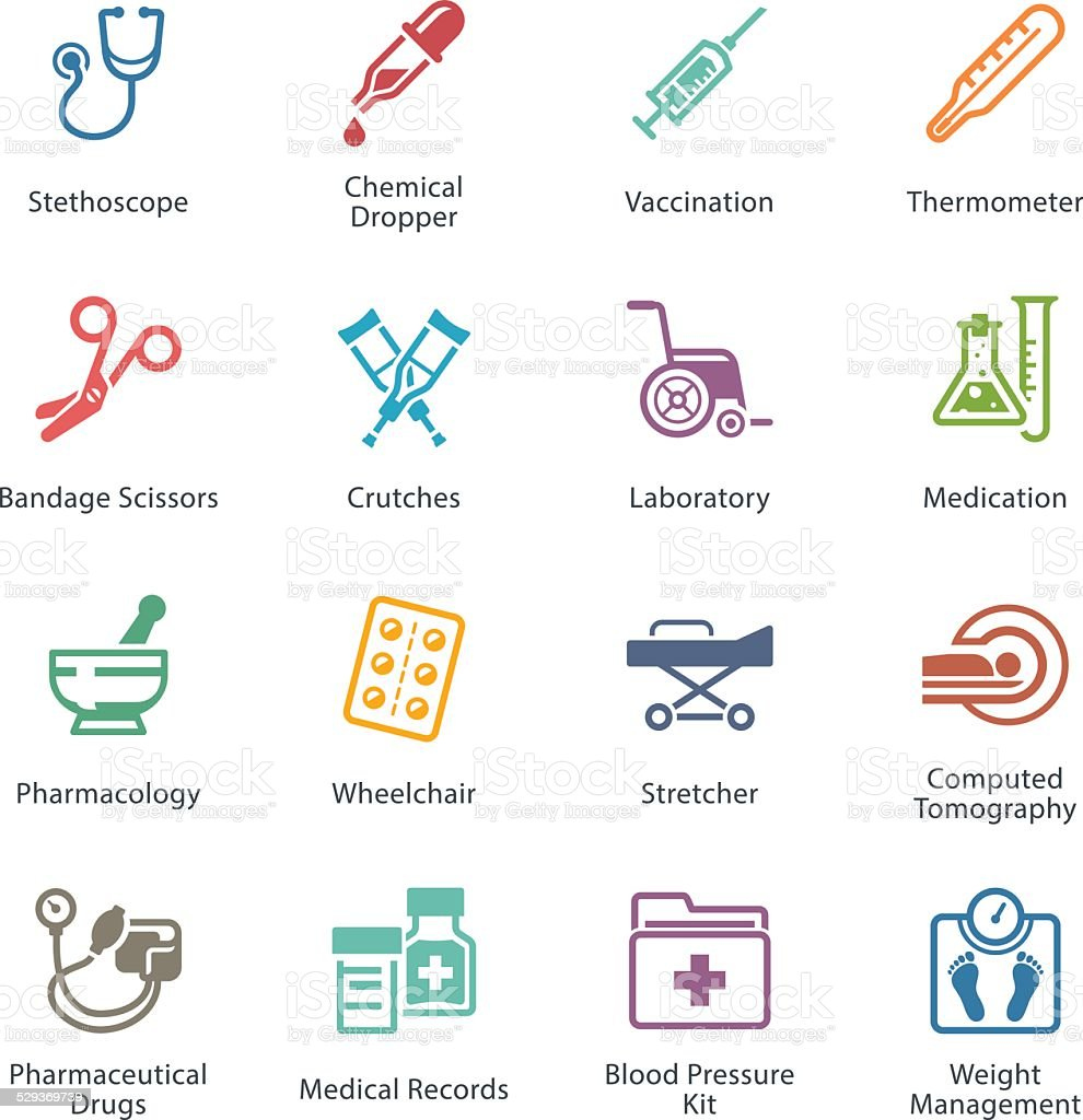 Colored Medical & Health Care Icons Set 1 - Equipment & Supplies vector art illustration