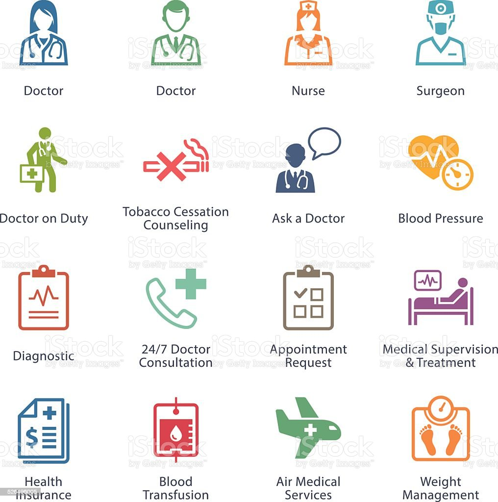 Colored Medical & Health Care Icons Set 2 - Services vector art illustration