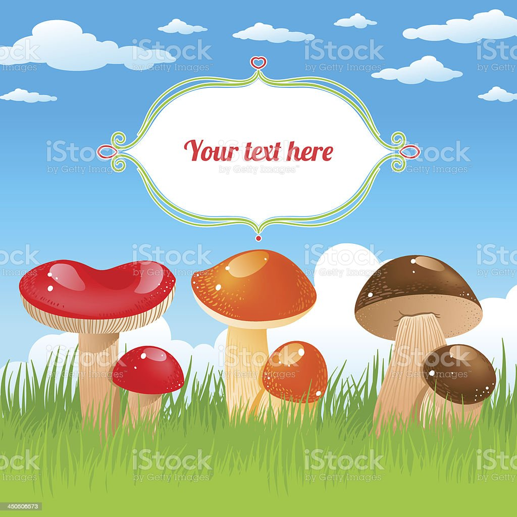 colored mushrooms royalty-free stock vector art