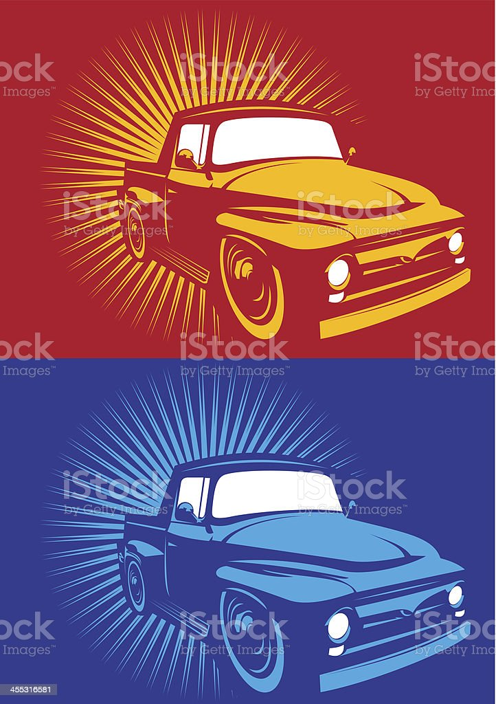 Colored old pick up vector art illustration