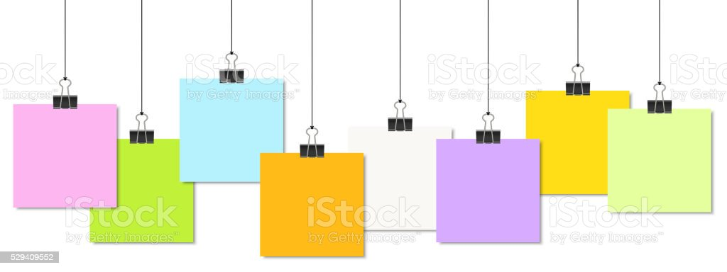 colored papers with binder clips vector art illustration