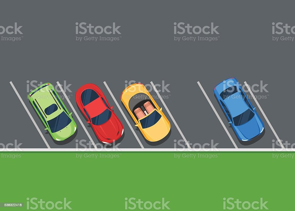 Colored Parked cars on the parking vector art illustration