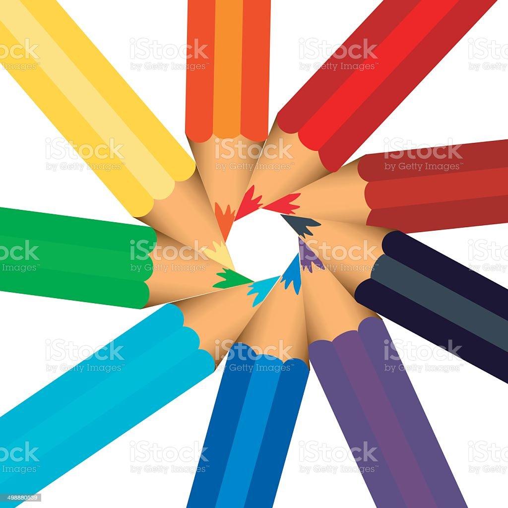 Colored pencil sorted vector art illustration