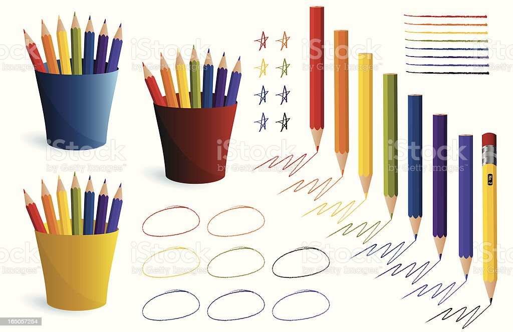 Colored Pencils and Strokes vector art illustration