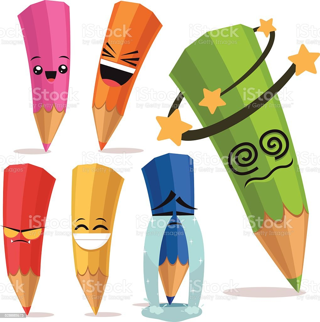 Colored Pencils Cartoon Set B vector art illustration