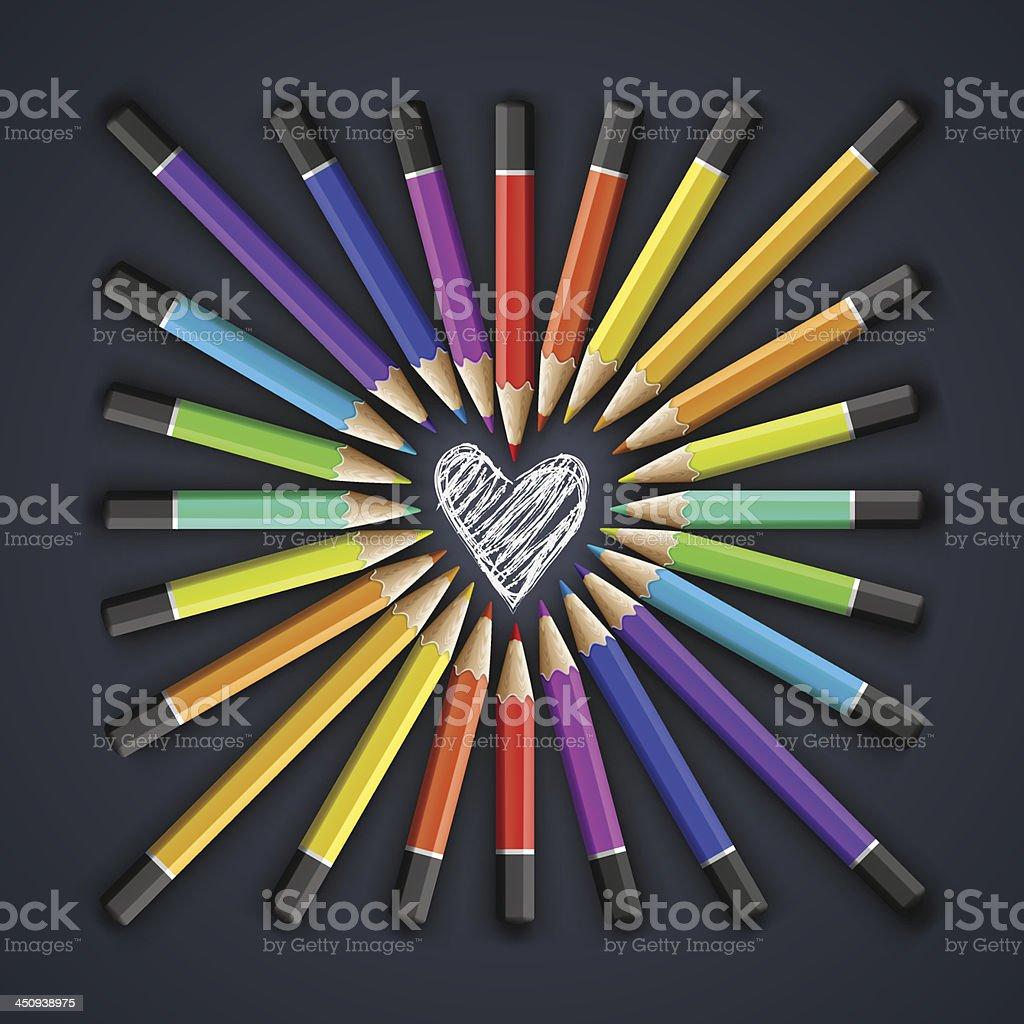 Colored pencils, heart shape vector art illustration