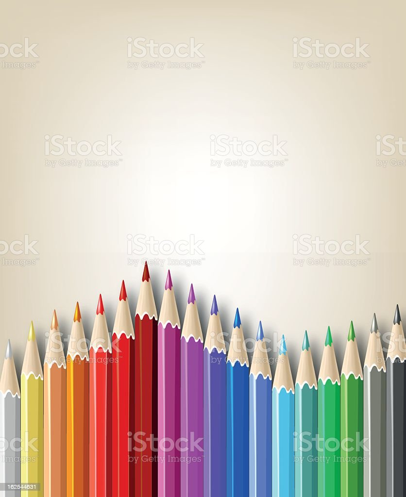 Colored pencils lined up across the page royalty-free stock vector art