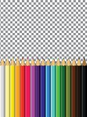 colored pencils on a transparent background for design
