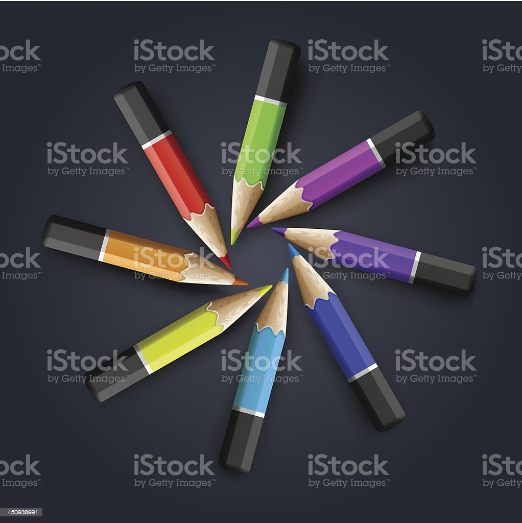 Colored pencils on grey background vector art illustration