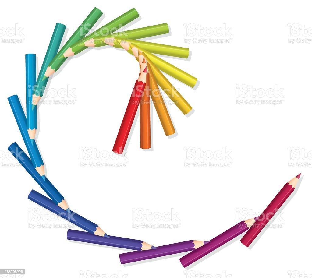 Colored Pencils Spiral Golden Cut vector art illustration