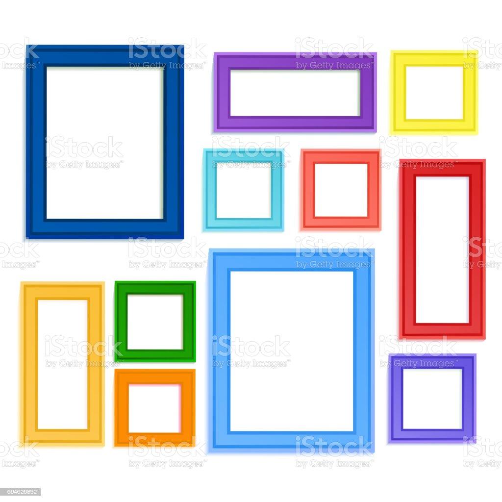 Colored photo frames vector art illustration