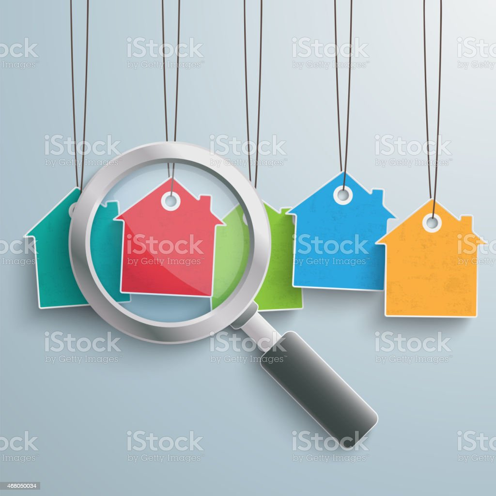 5 Colored Price Sticker Houses Loupe vector art illustration