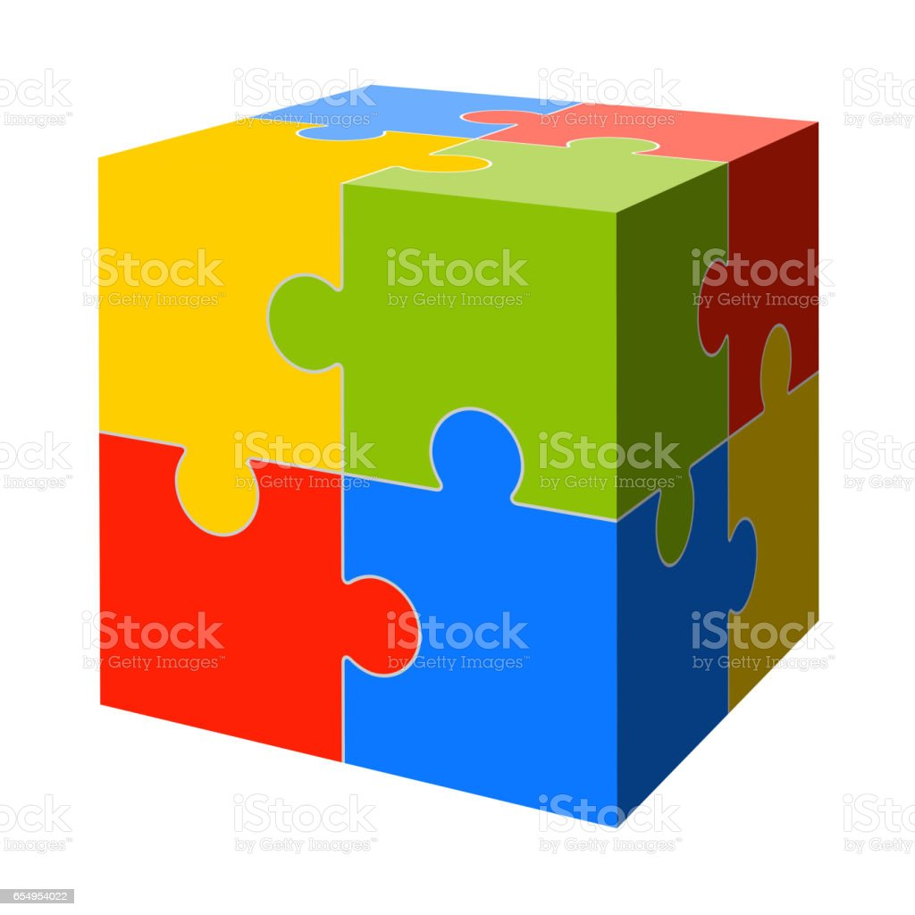 colored puzzle cube vector art illustration