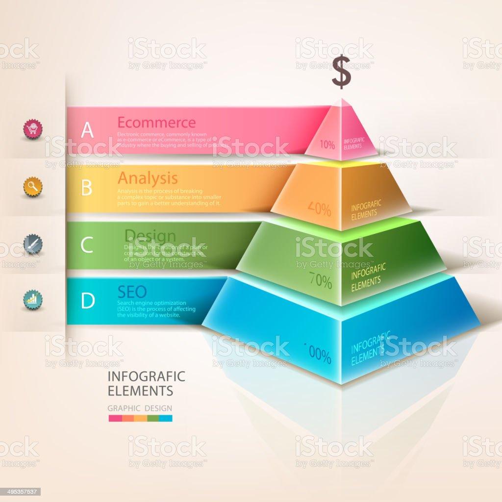 Colored pyramid info graphics vector art illustration
