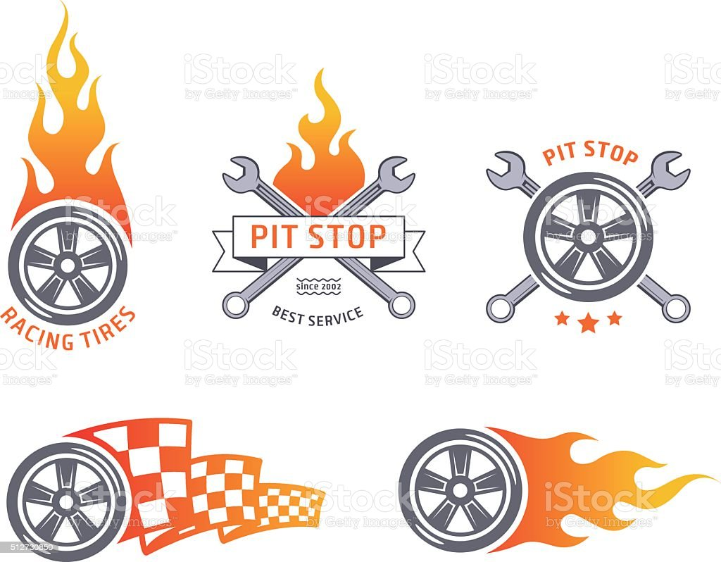 Colored racing tires and service vector emblems vector art illustration