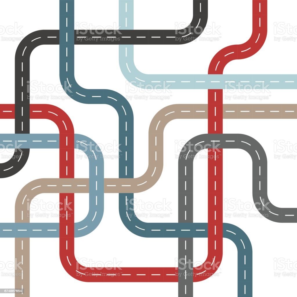 Colored Roads and Streets with Intersections Threaded Weave Pattern vector art illustration