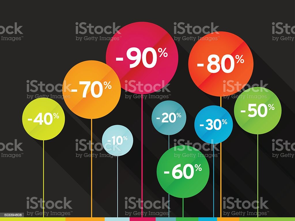 colored sale signs vector art illustration