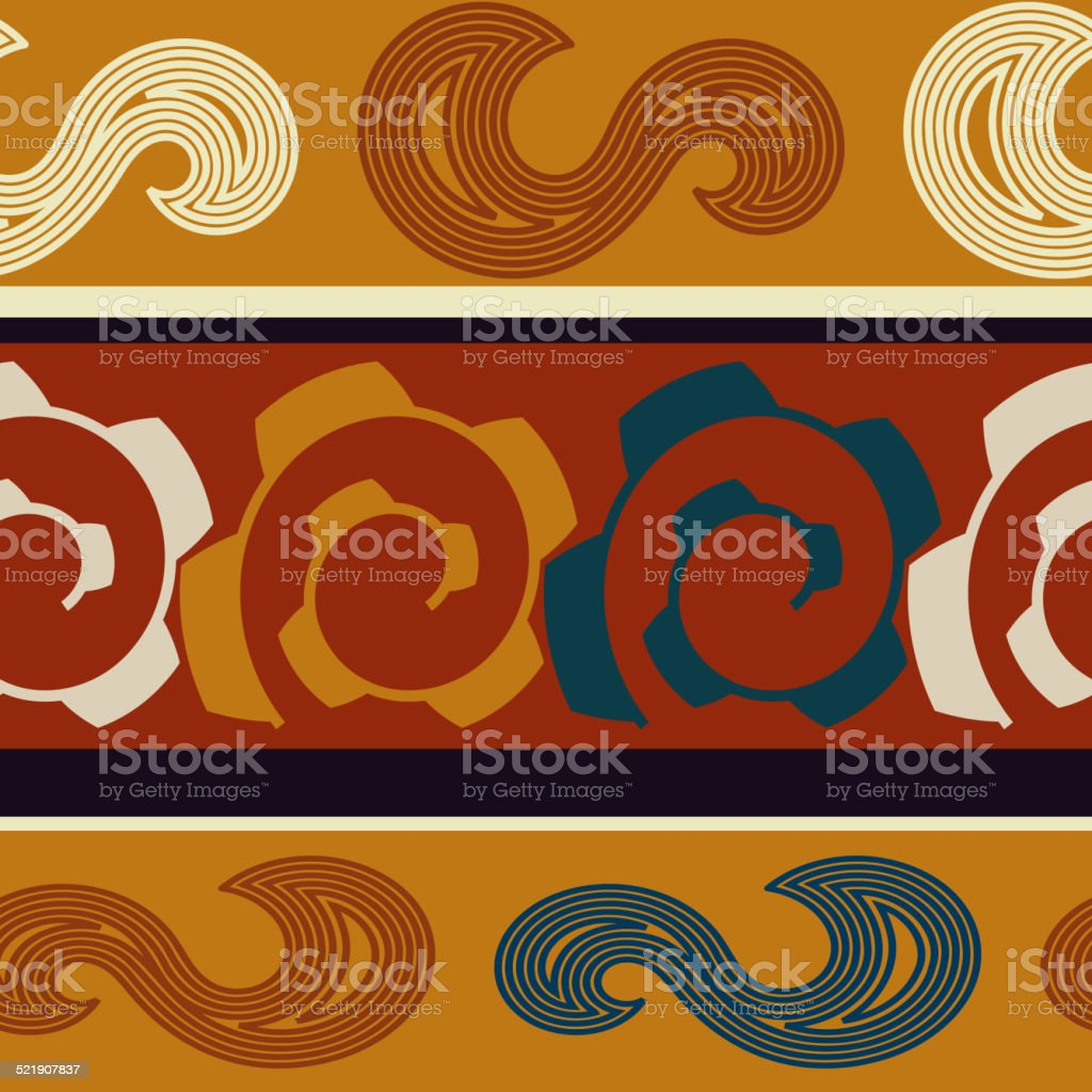 Colored seamless texture Indian vector art illustration