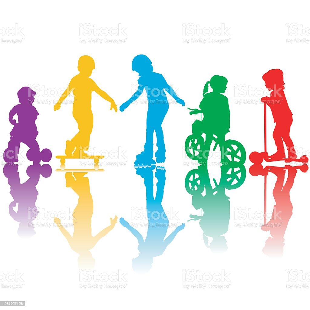 Colored silhouettes of active kids vector art illustration