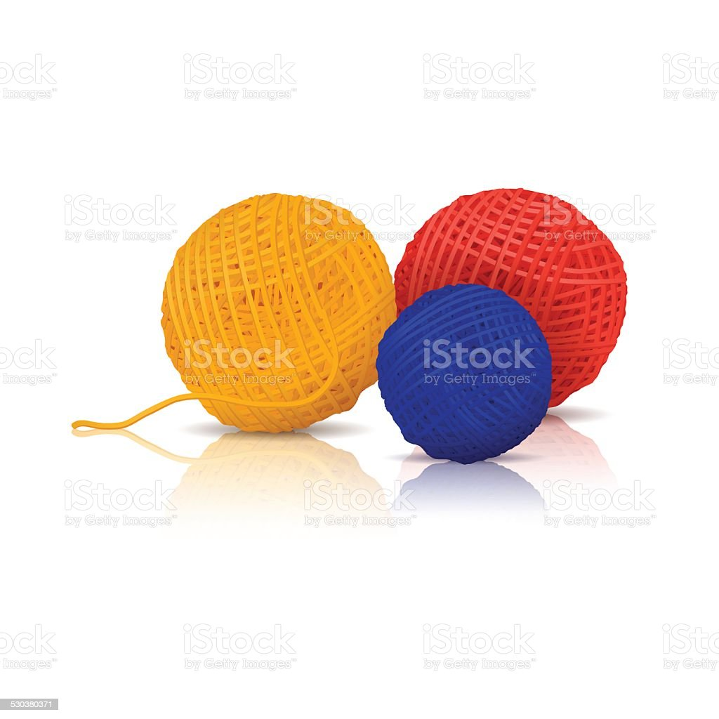 colored skeins of yarn for knitting with reflection vector art illustration