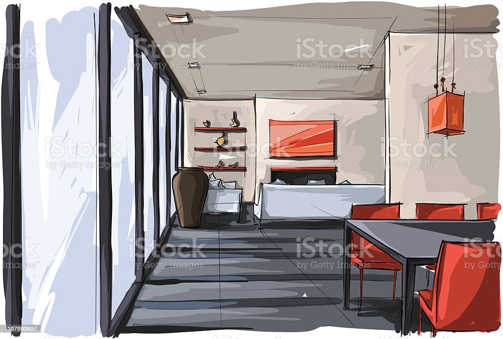 Colored sketch of cafe interior with red highlights royalty-free stock vector art