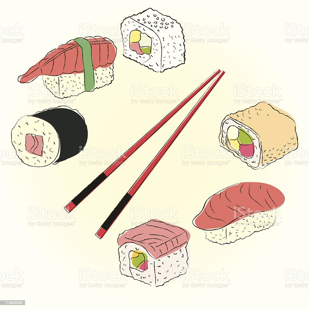 Colored sketchy sushi set royalty-free stock vector art