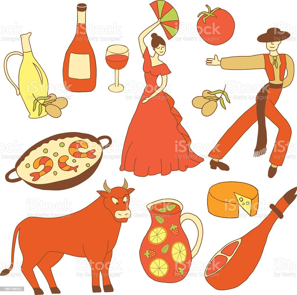 colored spanish icons vector art illustration