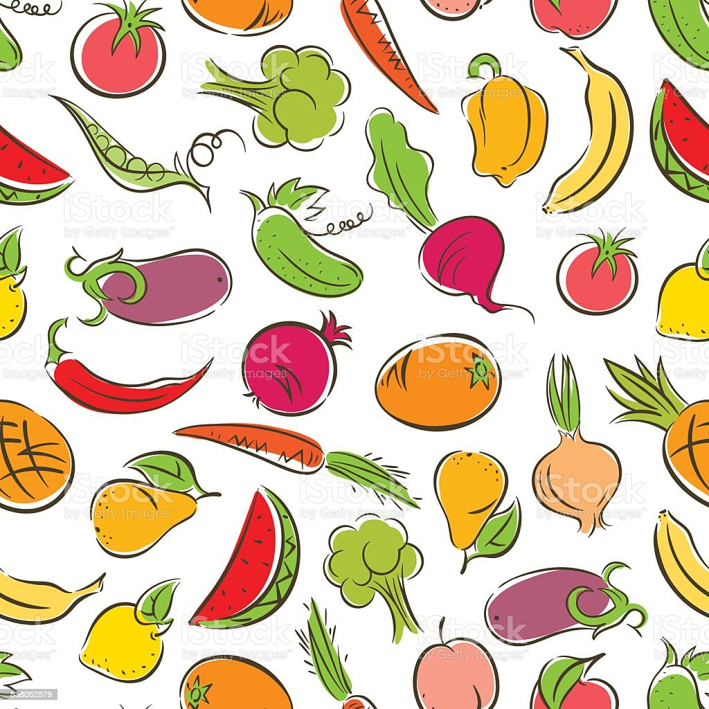 colored stylized fruit and vegetables vector art illustration