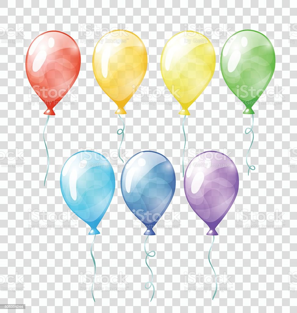 Colored transparent balloons vector art illustration