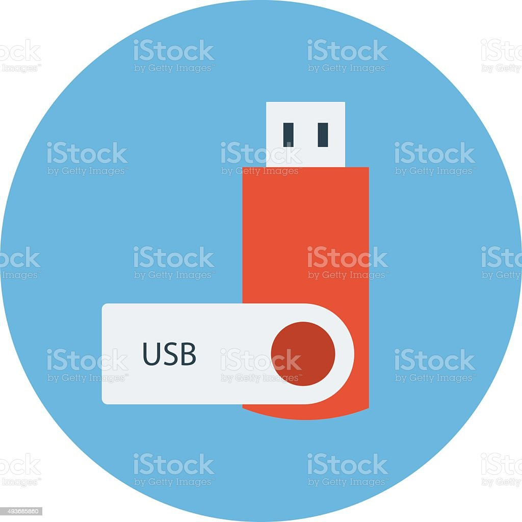 USB Colored Vector Illustration vector art illustration