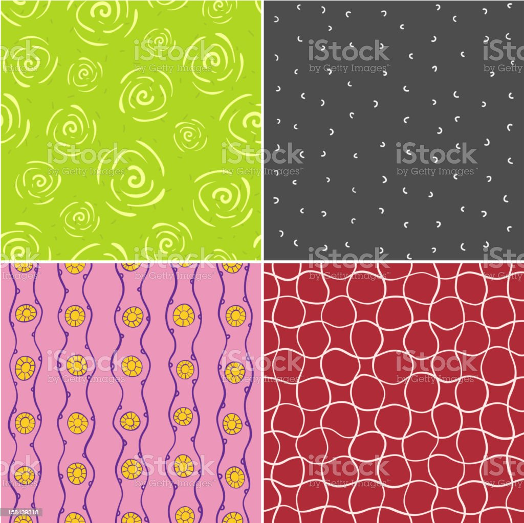 Colored vector seamless patterns royalty-free stock vector art