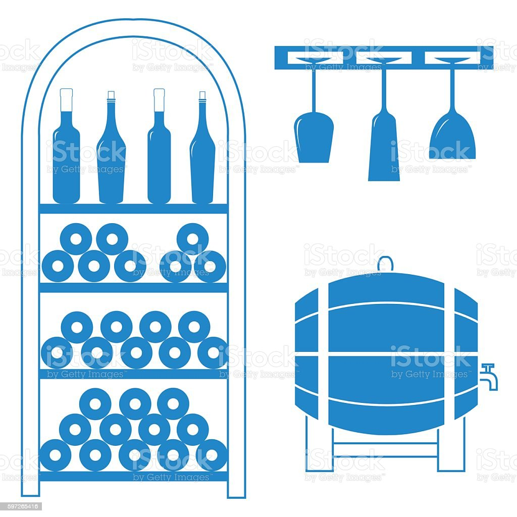 colored wine rack, bottles of wine, wine glasses vector art illustration