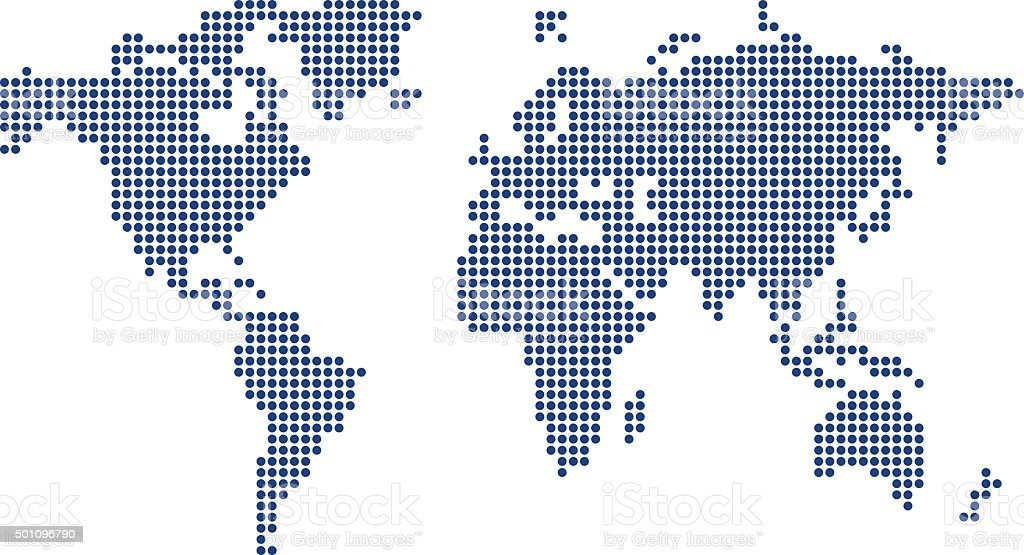 Colored World Map made from dots vector art illustration