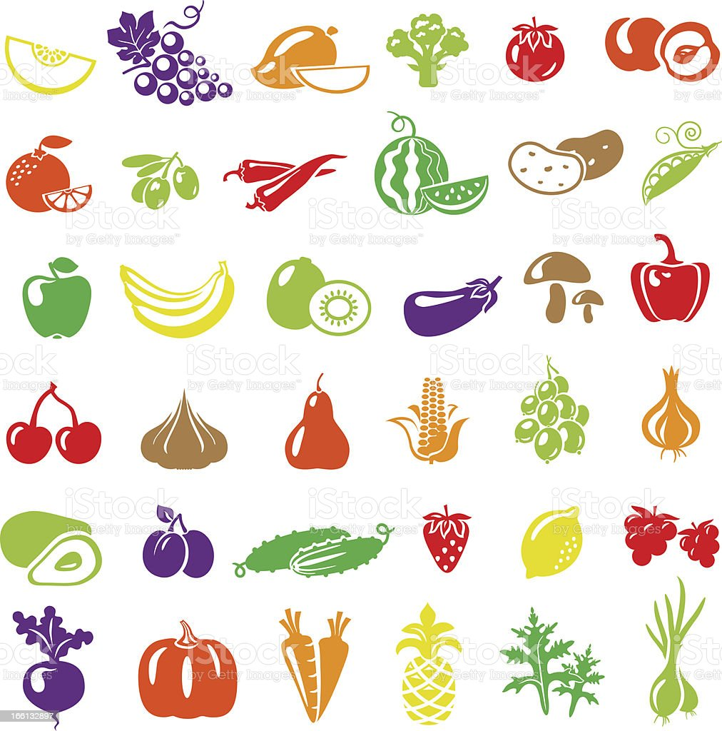 ColorFruitsVegetables royalty-free stock vector art